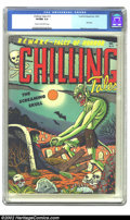 Golden Age (1938-1955):Horror, Chilling Tales #13 (#1) (Youthful Magazines, 1952) CGC VF/NM 9.0Cream to off-white pages. This bleary-eyed ghoul, badly in ...