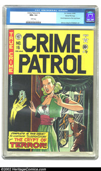 Crime Patrol #16 Gaines File pedigree 1/11 (EC, 1950) CGC NM+ 9.6 White pages. Gaines moved slowly into horror by puttin...