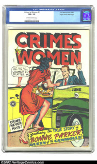 Crimes by Women #1 Mile High pedigree (Fox, 1948) CGC NM- 9.2 Off-white to white pages. I bet you thought you would neve...