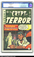 Golden Age (1938-1955):Horror, Crypt of Terror #19 (EC, 1950) CGC VF- 7.5 Off-white pages. This isthe last of issue of Crypt of Terror, because it was...