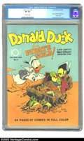 Golden Age (1938-1955):Funny Animal, Four Color #9 (Dell, 1942) CGC VF 8.0 Off-white pages. Thismilestone issue features the first Carl Barks Donald Duck. Barks...
