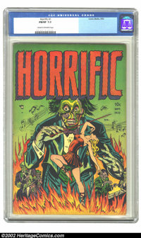 Horrific #1 (Comic Media, 1952) CGC FN/VF 7.0 Cream to off-white pages. This bizarre cover could have only come out of t...
