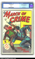 Golden Age (1938-1955):Crime, March of Crime #7 (#1) Mile High pedigree (Fox, 1950) CGC VF 8.0 White pages. This first issue of this title is the embodime...