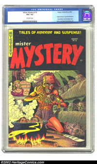 Mister Mystery #18 (Mr. Publications, 1954) CGC VG+ 4.5 Off-white pages. This cover has decapitation, bondage, and shrun...