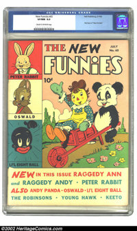 New Funnies #65 (Dell, 1942) CGC VF/NM 9.0 Cream to off-white pages. This is the very first issue of New Funnies, the ti...