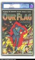 Golden Age (1938-1955):Superhero, Our Flag Comics #1 Mile High pedigree (Ace, 1941) CGC NM 9.4 Off-white to white pages. Nazi zombies, bombs, and tanks surrou...