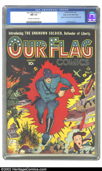 Our Flag Comics #1 Mile High pedigree (Ace, 1941) CGC NM 9.4 Off-white to white pages. Nazi zombies, bombs, and tanks su...