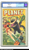Golden Age (1938-1955):Science Fiction, Planet Comics #42 (Fiction House, 1946) CGC VF/NM 9.0 Off-whitepages. Gale Allen has gotten herself into yet another fix, t...