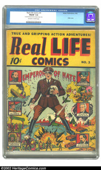Real Life Comics #3 (Nedor Publications, 1942) CGC FN/VF 7.0 Off-white to white pages. Better/Nedor's foray into the non...
