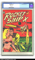 Golden Age (1938-1955):Science Fiction, Rocket Ship X #1 (Fox, 1951) CGC FN/VF 7.0 Off-white pages. Thisneat Fox publication is classic from top to bottom. It has ...
