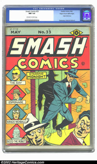 Smash Comics #33 Mile High pedigree (Quality, 1942) CGC NM 9.4 Off-white to white pages. This cover features Jack Cole's...