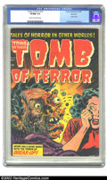 Golden Age (1938-1955):Horror, Tomb of Terror #15 File copy (Harvey, 1954) CGC VF/NM 9.0 Cream tooff-white pages. The exploding-face cover by Lee Elias bo...