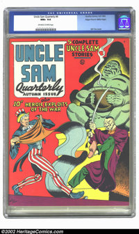 Uncle Sam Quarterly #4 Mile High pedigree (Quality, 1942) CGC NM+ 9.6 Off-white to white pages. One of the great patriot...
