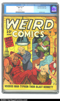 Weird Comics #3 Mile High pedigree (Fox, 1940) CGC NM- 9.2 Off-white pages. Joe Simon sure turned in a weird cover for t...
