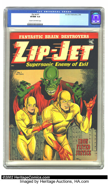 Zip-Jet #1 (St. John, 1953) CGC VF/NM 9.0 Cream to off-white pages. Esoteric is the word that instantly comes to mind when y...