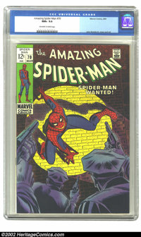 The Amazing Spider-Man #70 (Marvel, 1969) CGC NM+ 9.6 Off-white to white pages. A classic cover by John Romita Sr., with...