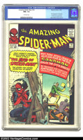 Silver Age (1956-1969):Superhero, The Amazing Spider-Man #18 (Marvel, 1964) CGC NM+ 9.6 Off-whitepages. Ned Leeds and the Fantastic Four peek in on Spidey as...