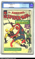 Silver Age (1956-1969):Superhero, The Amazing Spider-Man #16 (Marvel, 1964) CGC NM 9.4 Off-whitepages. Daredevil, in his first crossover, battles poor Peter ...