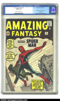 Silver Age (1956-1969):Superhero, Amazing Fantasy #15 (Marvel, 1962) CGC FN/VF 7.0 Cream to off-white pages. The king of all Marvels is represented here. This...