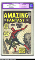 Silver Age (1956-1969):Superhero, Amazing Fantasy #15 (Marvel, 1962) CGC Apparent FN/VF 7.0 Slight (P) Cream to off-white pages. Generally regarded as the...