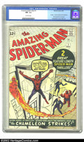 Silver Age (1956-1969):Superhero, The Amazing Spider-Man #1 (Marvel, 1963) CGC NM- 9.2 Off-whitepages. This first issue of Marvel's greatest character, which...