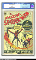 "Silver Age (1956-1969):Superhero, The Amazing Spider-Man #1 (Marvel, 1963) CGC VF+ 8.5 Off-whitepages. As striking and effective as Jack ""King"" Kirby's cover..."