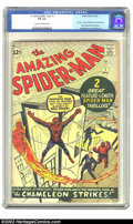 Silver Age (1956-1969):Superhero, The Amazing Spider-Man #1 (Marvel, 1963) CGC FN 6.0 Cream to off-white pages. Jack Kirby and Steve Ditko follow up their mil...