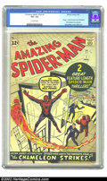 """Silver Age (1956-1969):Superhero, The Amazing Spider-Man #1 (Marvel, 1963) CGC VG+ 4.5 Off-whitepages. With the successful release of the """"Spider-Man"""" movie ..."""