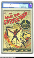 Silver Age (1956-1969):Superhero, The Amazing Spider-Man #1 (Marvel, 1963) CGC VG- 3.5 Off-whitepages. Here's a mid-grade copy of the first issue of Marvel's...