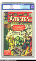 Silver Age (1956-1969):Superhero, The Avengers #1 (Marvel, 1963) CGC NM 9.4 Off-white pages. Thisglossy, tight and flat book is a wonder to behold. Avenger...