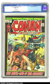 Conan The Barbarian #17 (Marvel, 1972) CGC NM+ 9.6 Off-white pages. For a short while in their 20-cent time period, Marv...