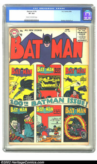 Batman #100 (DC, 1956) CGC VF 8.0 Cream to off-white pages. Fifties DCs are proving to be even more difficult to locate...
