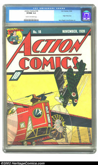 Action Comics #18 (DC, 1939) CGC VF/NM 9.0 Cream to off-white pages. The power of this Fred Guardineer aerial battle cov...