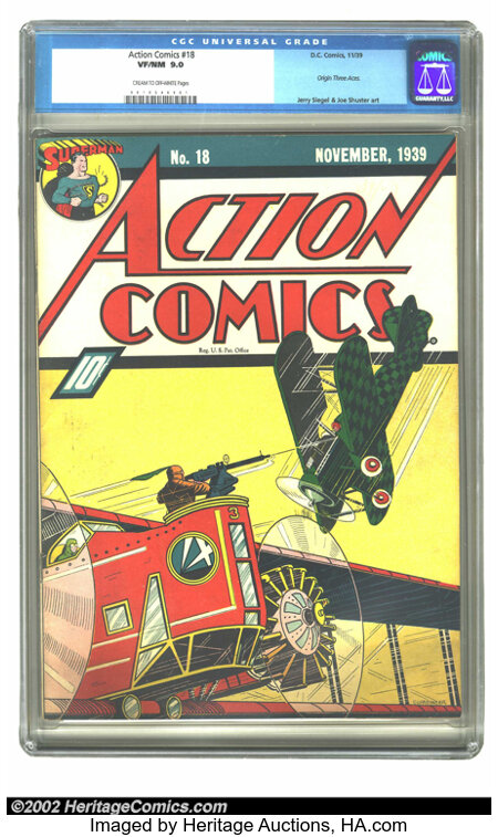 Action Comics #18 (DC, 1939) CGC VF/NM 9.0 Cream to off-white pages. The power of this Fred Guardineer aerial battle cover w...