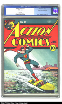 Action Comics #25 Mile High pedigree (DC, 1940) CGC NM+ 9.6 White pages. Superman, American icon for more than 60 years...