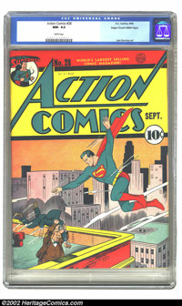 Action Comics #28 Mile High pedigree (DC, 1940) CGC NM- 9.2 White pages. This is a stunning Mile High copy of an early A...