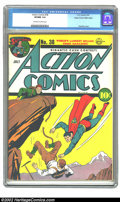 Golden Age (1938-1955):Superhero, Action Comics #38 Mile High pedigree (DC, 1941) CGC VF/NM 9.0 Off-white to white pages. You can always count on Superman to ...