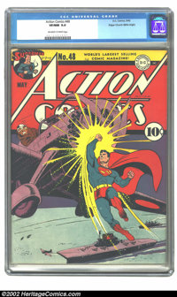Action Comics #48 Mile High pedigree (DC, 1942) CGC VF/NM 9.0 Off-white to white pages. What an awesome cover, with Supe...