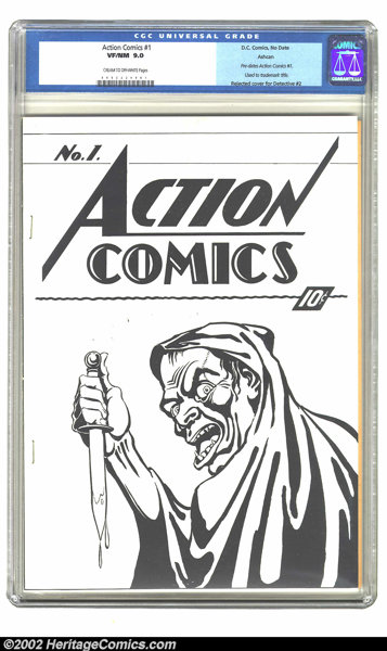 Golden Age (1938-1955):Superhero, Action Comics #1 (Ashcan) (DC, 1938). This gruesome Craig Flessel cover graces the comic that was used to register the trade...
