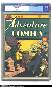 Adventure Comics #51 (DC, 1940) CGC NM- 9.2 White pages. In the infant years of comics' Golden Age, Creig Flessel's cove...