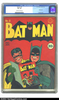 Golden Age (1938-1955):Superhero, Batman #8 (DC, 1942) CGC VF+ 8.5 Off-white to white pages. This endearing image of Batman and Robin is one that has stood th...