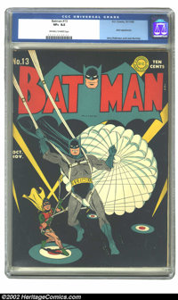 Batman #13 (DC, 1942) CGC VF+ 8.5 Off-white to white pages. Jerry Robinson offers one of his typically understated maste...