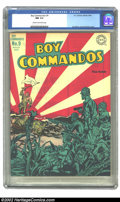Golden Age (1938-1955):War, Boy Commandos #9 (DC, 1944) CGC NM 9.4 Cream to off-white pages. Featuring a fantastic rising sun cover by Simon and Kirby, ...