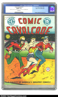 Comic Cavalcade #1 Mile High pedigree (DC, 1942) CGC FN/VF 7.0 White pages. Even the fragile cardboard cover of this tit...