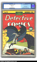 """Golden Age (1938-1955):Superhero, Detective Comics #33 (DC, 1939) CGC VG+ 4.5 Off-white pages. Overstreet gives a thumbs-up """"classic"""" designation to the Kane/..."""