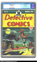 Golden Age (1938-1955):Superhero, Detective Comics #37 Nova Scotia pedigree (DC, 1940) CGC VF/NM 9.0 Off-white to white pages. With the Boy Wonder emerging on...