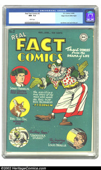 Real Fact Comics #2 Mile High pedigree (DC, 1946) CGC NM- 9.2 White pages. The Mile High collection is generally acknowl...
