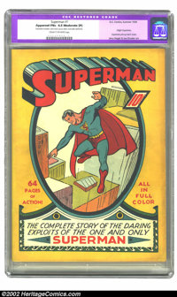 Superman #1 (DC, 1939) CGC Apparent FN+ 6.5 Moderate (P) Cream to off-white pages. Arguably the second most important co...