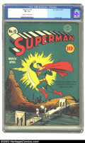 Golden Age (1938-1955):Superhero, Superman #15 (DC, 1942) CGC VF- 7.5 Cream to off-white pages. The dynamic cover is by Fred Ray, shown off in glorious colors...