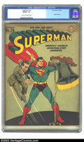 """Golden Age (1938-1955):Superhero, Superman #26 (DC, 1944) CGC FN/VF 7.0 Cream to off-white pages. Deemed a """"classic war cover"""" by Overstreet, this Nazi-ridicu..."""